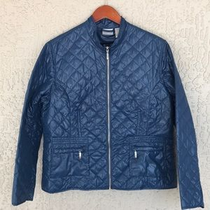Chico's light weight, blue, quilted jacket.